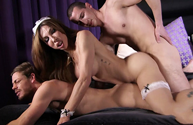 Room and booty service. Dirty maid Eva in an anal 3-way
