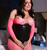 Pink body stocking and toy. Hot Wendy playing in bodysuit & corset