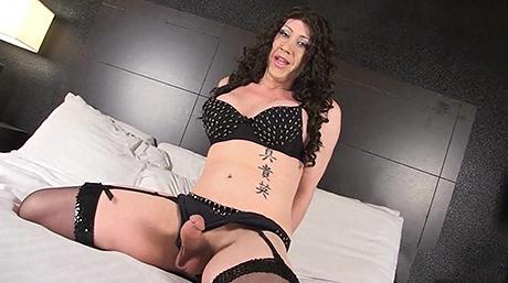 Kimber haven black lingerie. Voluminous dick Kimber blowjob and masturbates