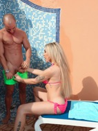 Eva and antonio sexed it up rough inside a pool shower and cums all over the place