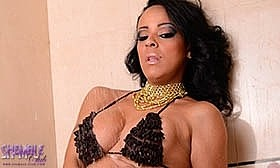 Isis jacks her thick throbbing tool in the bath and she shoots